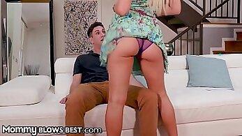 Busty Stepmom Cherie Deville Slurping Cum After Sucking Cock