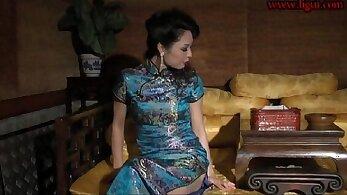 Chinese girl in heels finally fucks in stockings