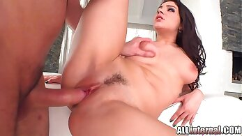 Gorgeous Italian babe stuffs her creampie and then rides the dick