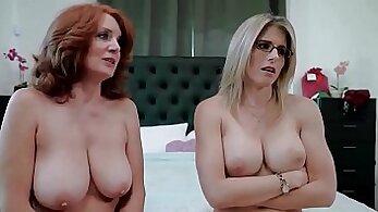 Busty redhead mom Briya has well narrowed bathroom sex