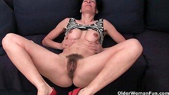 Pantie starts pounding grandma on the floor