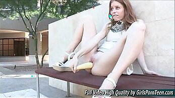 Big natural tits masturbating public dildo