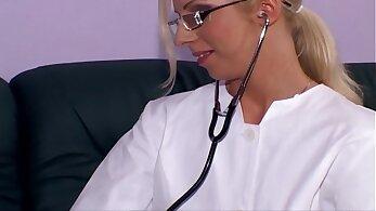 Curvy blonde chick on white nurse heels