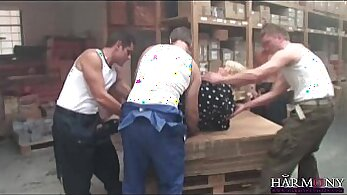 Busty employee sucks and fucks in interracial orgy with partners boss