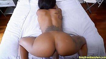 Black haired secretary jumping that big dick