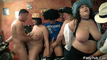 bitch joins a group of horny dudes for an orgy