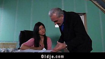 amazing fake show young brunette ripped by old teacher