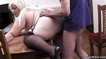 Blondie gets fucked by her busty secretary