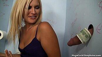 Blonde Pool Blowjob in the Bathroom - public shoot