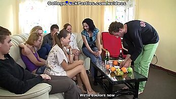 Crazy college party turned into a hot group sex. Girls having lots of fun