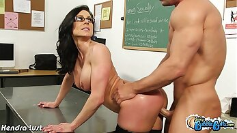 Captivating girl Kendra Lust bends over to take the cock