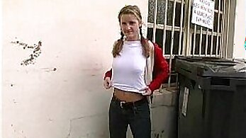 Blonde teen hottie gets doggystyled while her boyfriend takes care