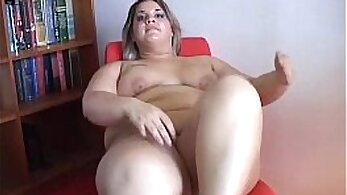 Chubby blonde gets her pussy filled with hard dick on staircase