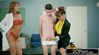 Young teacher gags on cock